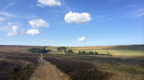 Walking on the moor from the village