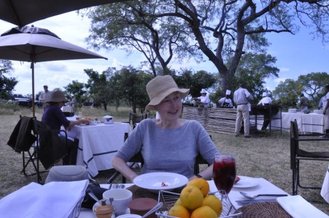 Breakfast in the bush,with warthog bacon