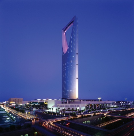 The Kingdom Tower, with the bridge walkway across the top