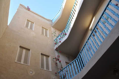 Looking up from the open courtyard