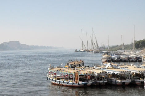 Water taxis on the west bank of the Nile