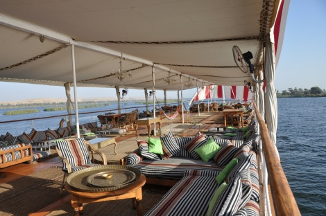 Meroe's main deck. A heavenly place to watch the world go by...