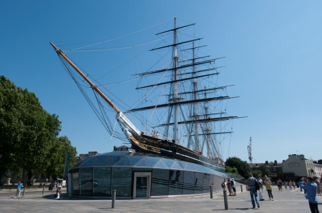 Cutty Sark exterior. Port broadside & port 3/4 view during the day.