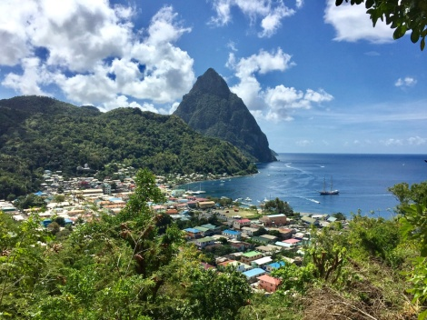 View of the Pitons from the walk from Anse...